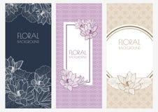 Ensemble de milieux floraux de bannière de vecteur et de modèle sans couture vi Photographie stock