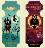 Ensemble de milieux de Halloween avec les caractères lumineux Calibre d'invitation de partie illustration stock