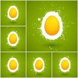 Ensemble de 6 milieux heureux de vecteur de Pâques Photos stock