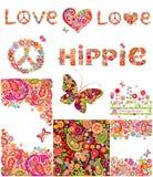 Ensemble de milieux hippies illustration stock