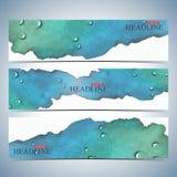 Ensemble de milieux horizontaux d'aquarelle Calibre moderne de conception de site Web de page Illustration de vecteur illustration libre de droits