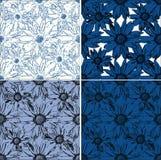 Ensemble de 4 milieux sans couture avec des fleurs Image libre de droits