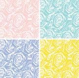 Ensemble de 4 milieux sans couture avec des roses Photo stock