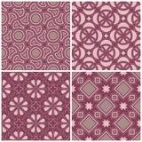 Ensemble de milieux sans couture violets avec les modèles géométriques Images libres de droits