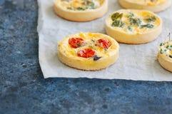 Ensemble de mini tartes savoureuses sur un papier de cuisson WI végétaux de quiches Image stock