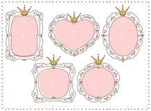 Ensemble de miroirs mignons de griffonnage Élément de princesse de conception Cadres roses avec la couronne, diadème Croquis tiré illustration libre de droits