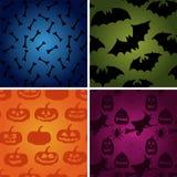 Ensemble de modèle de Halloween de vecteur l'os, potiron, sorcière, manie la batte des icônes illustration libre de droits
