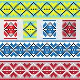 Ensemble de modèle ethnique d'ornement dans différentes couleurs Illustration de vecteur Images libres de droits