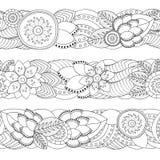 Ensemble de modèle floral sans couture de griffonnage Cadre barre Photographie stock