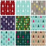 Ensemble de modèle sans couture de Noël neuf avec des sapins, flocons de neige, guirlandes illustration de vecteur