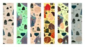 Ensemble de modèle sans couture de forêt Taille 70x270 Décalage vertical 1x2 illustration stock