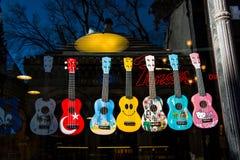 Ensemble de modèles colorés de guitare Photos libres de droits