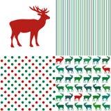 Ensemble de modèles de Noël Rayures et point de polka Photo stock
