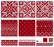Ensemble de modèles de tricotage d'étoile norvégienne Photographie stock