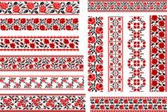Ensemble de 12 modèles ethniques pour le point de broderie avec des roses illustration stock