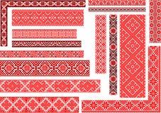 Ensemble de 15 modèles ethniques sans couture pour le point de broderie illustration libre de droits