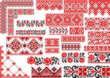 Ensemble de 25 modèles ethniques sans couture pour le point de broderie illustration stock