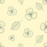 Ensemble de modèles floraux de vecteur sans couture Fond tiré par la main jaune avec des fleurs, feuilles, éléments décoratifs Il Photo stock