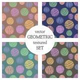 Ensemble de modèles géométriques de vecteur sans couture avec des cercles fond sans fin en pastel avec les chiffres géométriques  Image stock