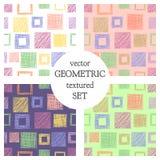 Ensemble de modèles géométriques de vecteur sans couture avec des places fond sans fin en pastel avec les chiffres géométriques t Photo stock