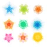 Ensemble de modèles ronds de triangle de vecteur Mandala de fleur de kaléidoscope Calibres de conception moderne, mosaïque d'illu Photo libre de droits