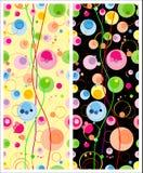 Ensemble de modèles sans couture colorés avec les éléments ronds sur le fond clair et foncé Illustration Libre de Droits