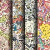 Ensemble de modèles sans couture colorés de filigrane Milieux gribouillants incurvés pour le textile ou impression avec le mehndi Photographie stock libre de droits