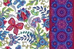 Ensemble de modèles sans couture floraux d'aspiration de main avec le papillon et le ruban sans couture de bordure de bande Illus illustration de vecteur