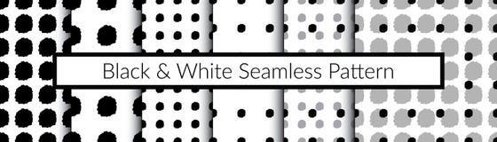 Ensemble de modèles sans couture noirs et blancs Les modèles à la main photo libre de droits