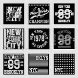 Ensemble de mode de typographie de New York, T-shirt Image stock