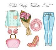 Ensemble de mode des vêtements, des accessoires, et des chaussures de la femme Équipements occasionnels dans le denim bleu et la  illustration de vecteur