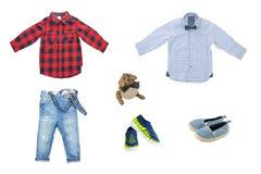 Ensemble de mode de ressort et d'été pour des garçons Beaux jeans, shir Image stock