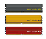 Ensemble de modules de la mémoire DDR3 Photographie stock libre de droits