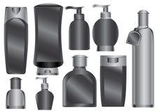 Ensemble de modules noirs de produits de beauté Photos stock