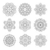 Ensemble de monochrome de vecteur de mandalas illustration stock