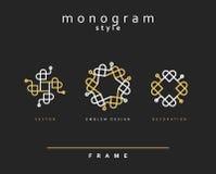 Ensemble de monogramme élégant Conception d'emblème Photos stock