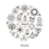 Ensemble de monogrammes et de logos de yoga d'ensemble Résumé Image stock
