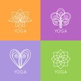 Ensemble de monogrammes et de logos de yoga d'ensemble Résumé Photo stock