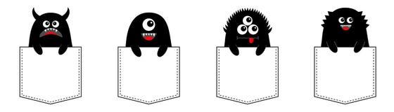Ensemble de monstre de bande dessinée se reposant dans la poche Silhouette noire Caractère drôle effrayant mignon Veille de la to illustration libre de droits