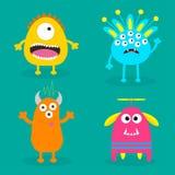 Ensemble de monstre Caractère effrayant de bande dessinée mignonne Collection de bébé Fond vert Carte heureuse de Veille de la to Photos stock