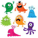 Ensemble de monstres colorés mignons Photos libres de droits