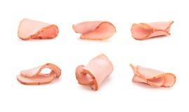 Ensemble de morceaux de viande coupés en tranches Photos stock