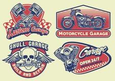 Ensemble de moto de vintage de conception de bagde Photo libre de droits