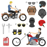 Ensemble de motocycliste, outils d'iclude, verres, casque, passe-montagne, sac à dos illustration libre de droits