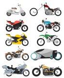 Ensemble de 10 motos sur le blanc dans le style plat moderne illustration libre de droits