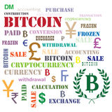 Ensemble de mots et de symboles avec Bitcoin Image stock