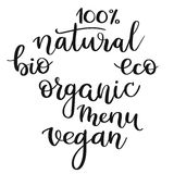 Ensemble de mots handwritting : naturel, vegan, organique, eco, bio, menu Image stock