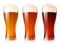 Ensemble de mousse de Porter Dark Red Light Lager de variétés en verre de bière Image libre de droits