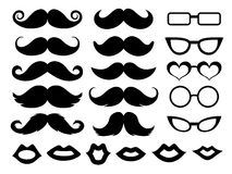 Ensemble de moustaches, de verres et de lèvres Images stock