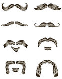 Ensemble de moustaches tirées par la main Images libres de droits